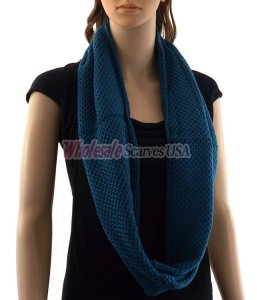 Fine Knit Infinity Scarf Teal