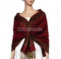 Jacquard Border Scarf Jujuba Red