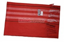 Cashmere Feel Stripe Scarf Red