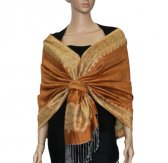 Jacquard Border Scarf Sandy Brown
