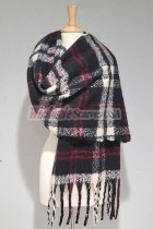 Cashmere Feel Plaid Shawl Black