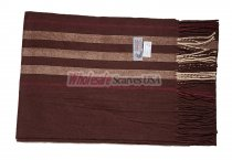 Cashmere Feel Stripe Scarf Brown
