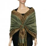Jacquard Border Scarf Dark Sea Green