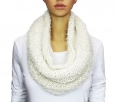 Infinity Mixed Loop Knit Scarf White