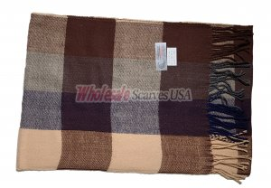 Cashmere Feel Plaid Scarf Brown #17920