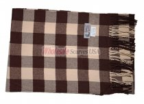 Cashmere Feel Checker Scarf Brown