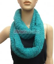 Chunky Lurex Infinity Scarf Turquoise