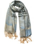 Paisley Jacquard Shawl Light Tan w/ Light Blue