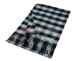 Woven Square Design Scarf A7 Black/Grey