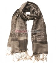 Paisley Jacquard Shawl Tan Brown