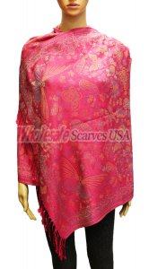 Wholesale Butterfly Design Pashmina Hot Pink