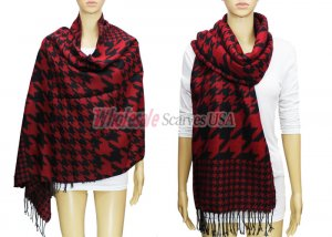 Hound Tooth Pashmina Black / Red