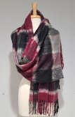 Cashmere Feel Plaid Scarf Shawl Black/Burgundy