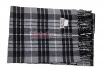 Cashmere Feel Plaid Scarf Black/Grey #102012