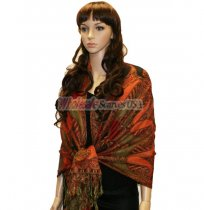 Beautiful Paisley Pashmina Orange/Red
