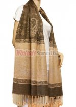 Paisley Lurex Pashmina Brown