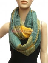 Wholesale Infinity Knit Scarf Turquoise / Coral