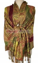 Paisley Flower Shawl Olive Green