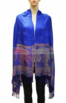 Elephant Pattern Scarf Royal Blue