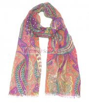 Premium Paisley Floral Print Scarf S0077 Pink