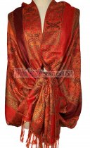 Paisley Flower Shawl Orange/Red