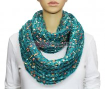 Infinity Marble Knit Scarf Aqua
