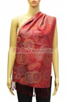 Paisley and Pattern Pashmina Red