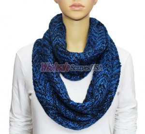 Infinity Two Color Mixed Knit Scarf Royal Blue