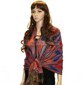 Beautiful Paisley Pashmina Blue/Red