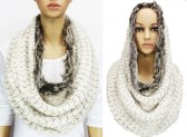 Infinity Faux Fur Solid Scarf Off White