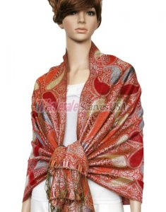 Metallic Pashmina Red