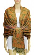 Pashmina Multi Paisley Orange Green