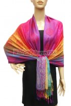 Pashmina Colorful Paisley Purple/Hot Pink
