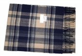 Cashmere Feel Plaid Scarf Beige/Navy