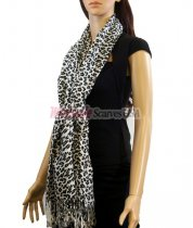 Leopard Print Scarf White