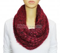 Infinity Mixed Loop Knit Scarf Red