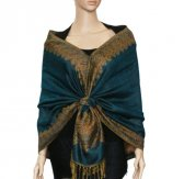 Jacquard Border Scarf Dark Green