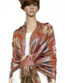 Metallic Pashmina Jojoba Red
