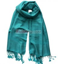 Paisley Jacquard Shawl Medium Aquamarine