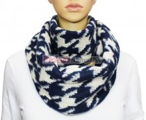 Infinity Hound Tooth Scarf Navy / White