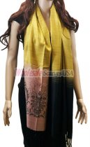 Two Tone Floral Scarf Gold Black