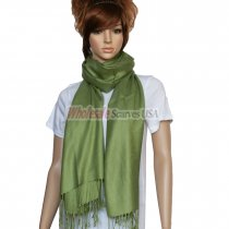 Solid Pashmina Yellow Green Dozen (12 pcs)