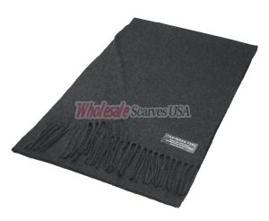 Winter Woven Plain Scarf Charcoal