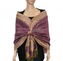 Jacquard Border Scarf Pale Violet Red