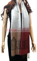 Two Tone Floral Scarf Silver Dark Red