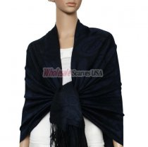 Soft Circle Pashmina Black w/ Navy