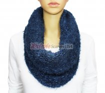 Infinity Mixed Loop Knit Scarf Navy