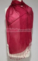 Sheer Metallic Scarf Dark Red