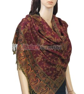 Small Paisley Scarf Jujuba Red