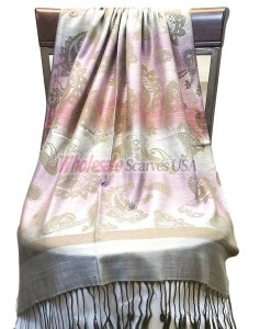 Paisley Striped Scarf Silver Pink